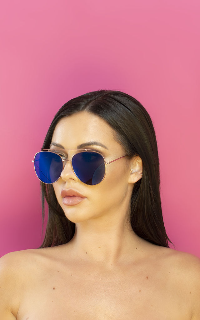 Oh Shock! Oversized reflective Aviator Sunglasses Metallic Blue Lens by Shock X Shelby