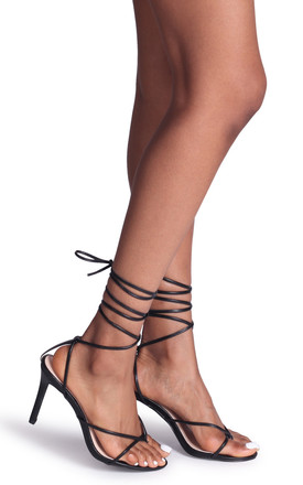 Miracle Black Strappy Toe Post Lace Up Heel by Linzi