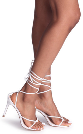 Miracle White Strappy Toe Post Lace Up Heel by Linzi