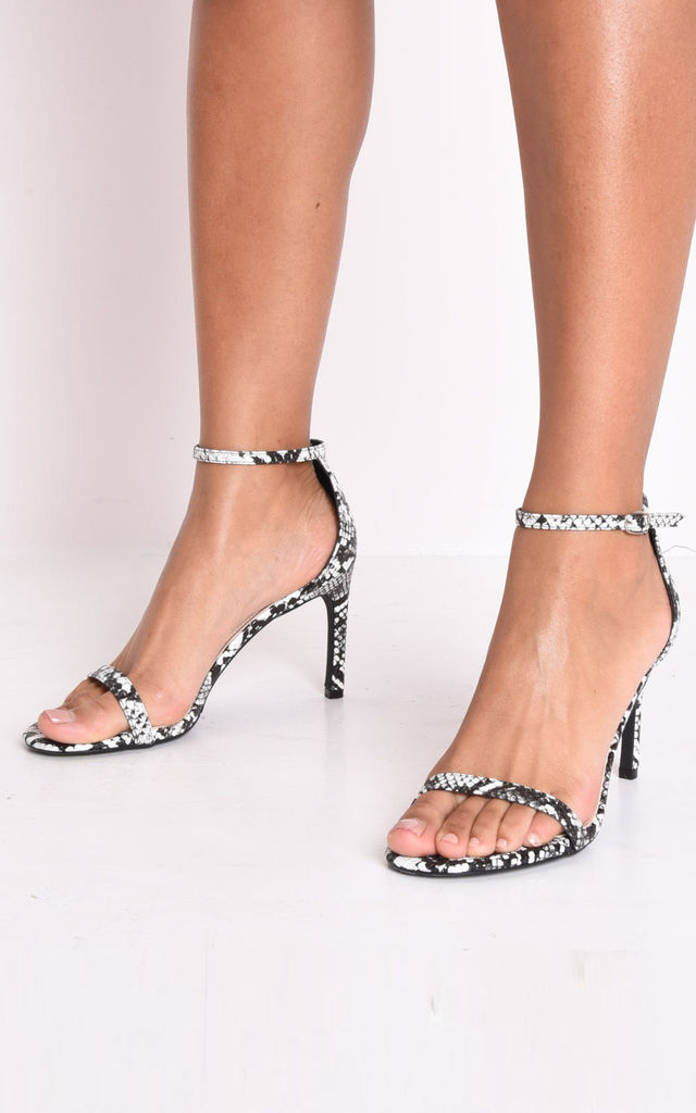 Snake animal print strappy barely there sandal heels multi by LILY LULU FASHION