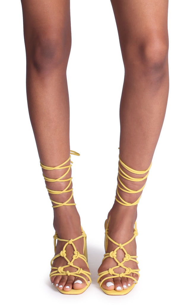 Houston Yellow Suede Strappy Heeled Sandal With Knotted Front Detail by Linzi