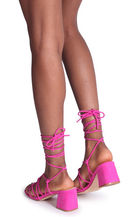 Houston Fuchsia Suede Strappy Heeled Sandal With Knotted Front Detail by Linzi