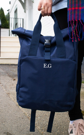 Personalised Roll Top Backpack in Navy by Peggy and Sam