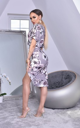 Judith Batwing Wrap Dress in Grey Floral by Missfiga