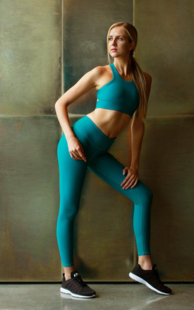 Pulse Sports Bra In Tango Teal by Skimmed Milk Product photo
