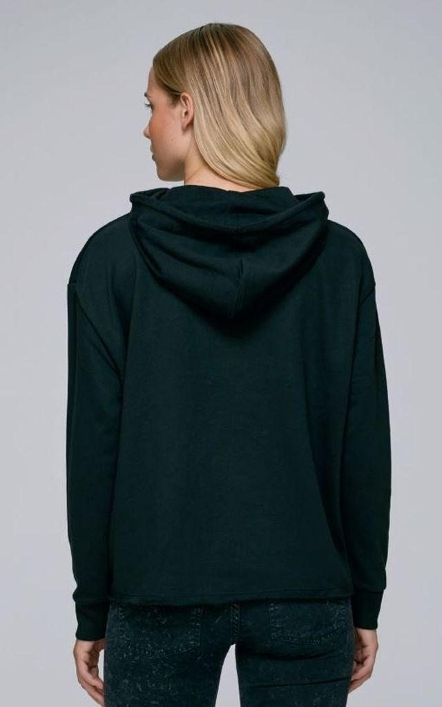 Black Hoodie Long Sleeve Sweatshirt Top by TrulyRocks Yoga
