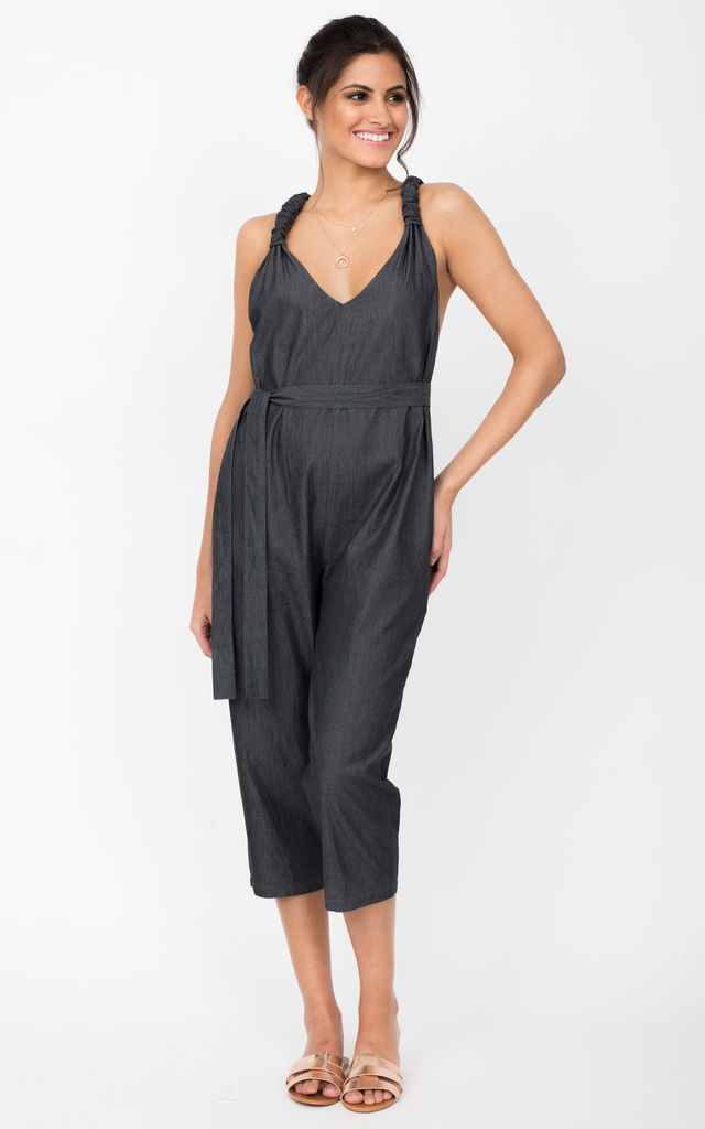 Racer Back Cropped Jumpsuit Summer Denim Grey by likemary