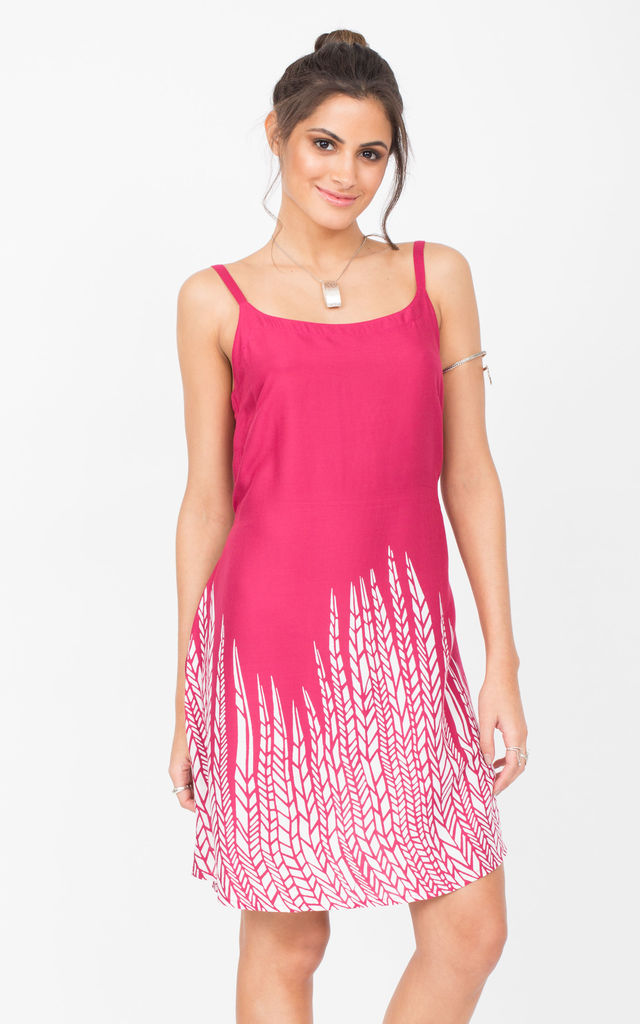 Fuchsia Slip Dress with Feather Border by likemary