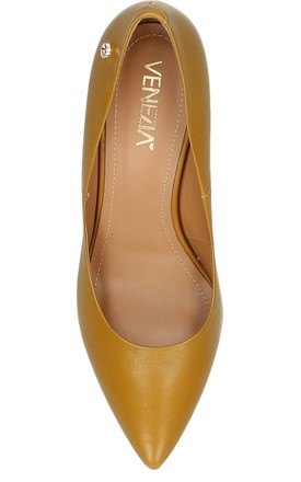 DARK NUDE LEATHER HIGH HEEL COURT SHOES by E&A Fashion
