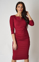 The Cecile Ruby Red 3/4 sleeve midi dress by Off the Catwalk