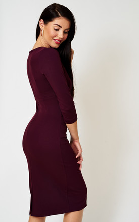 The Cecile Aubergine 3/4 sleeve midi dress by Off the Catwalk