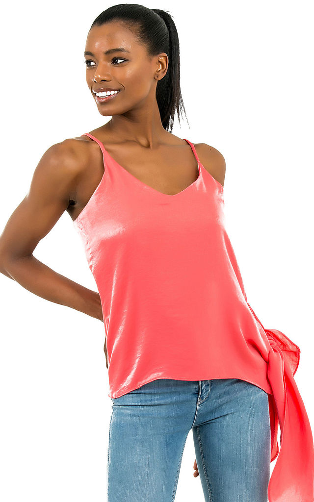 2cd7740349 Coral Satin Side Tie Detail Cami Top | Zibi London | SilkFred