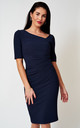 The London Navy Asymmetric neckline stretch fitted dress by Off the Catwalk