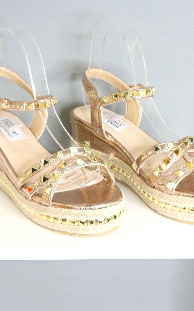 Champagne studded wedge sandal by Bond Street Shoe Company