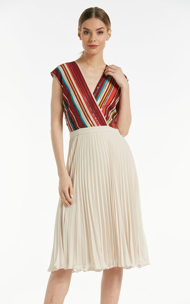 Knee length sleeveless pleated skater dress in Multicolour by Explosion London