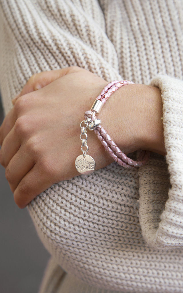 Dusky Soft Pink Braided Rope Bracelet by A Gift From The Gods