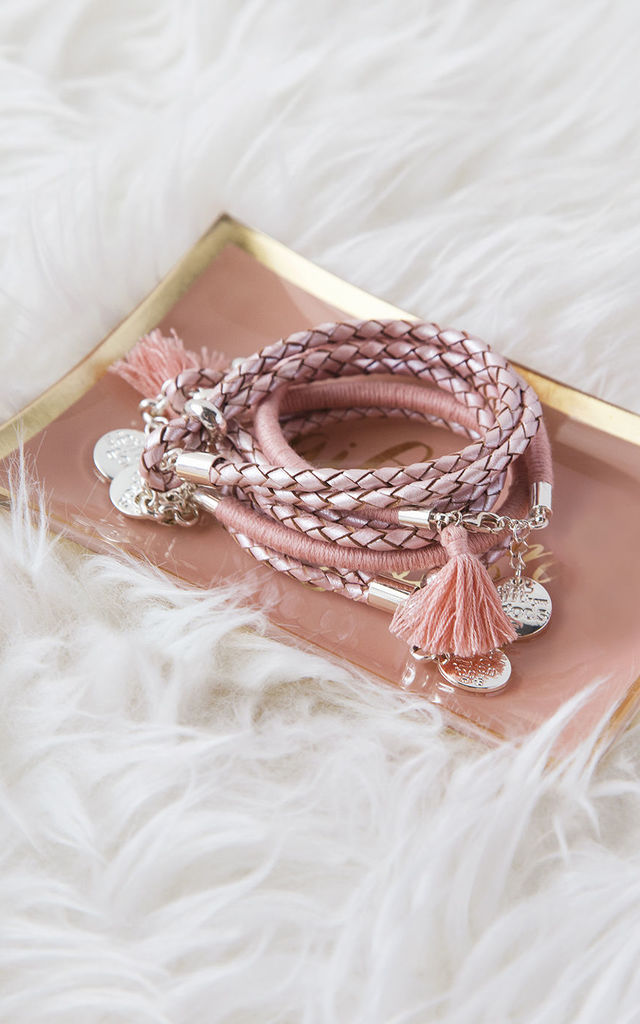 Dusky Soft Pink Tassel Bracelet by A Gift From The Gods