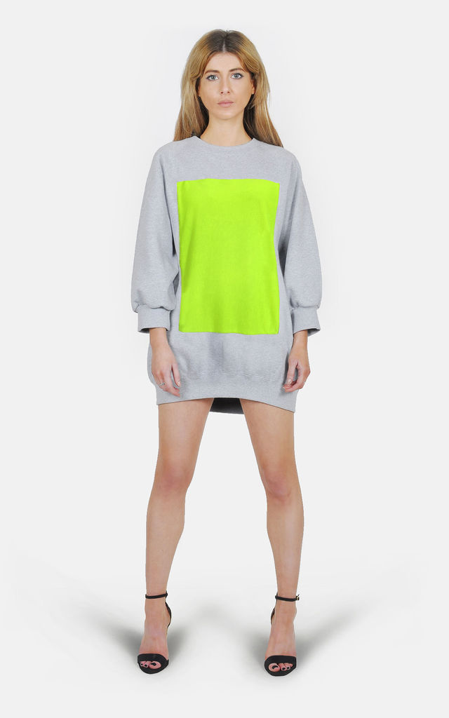 520072b99c Oversized Grey Jumper Dress with Neon Fluorescent Green Insert by The Left  Bank
