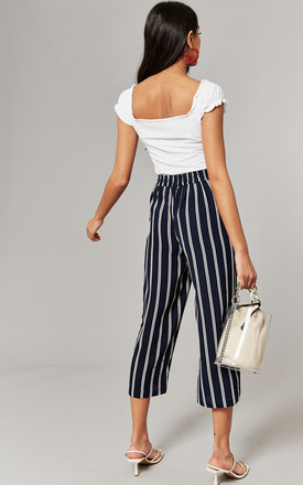 Cropped Trouser with tie waist in navy stripe by ONLY