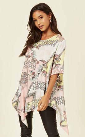 SUSAN – Asymmetric Printed Pink Top by Blue Vanilla
