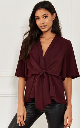 Wine Kimono Knot Top by Bella and Blue Product photo