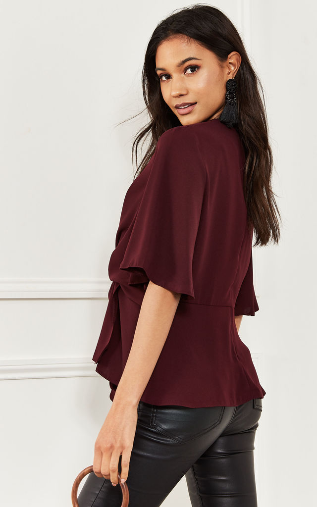 Wine Kimono Knot Top by Lilah Rose