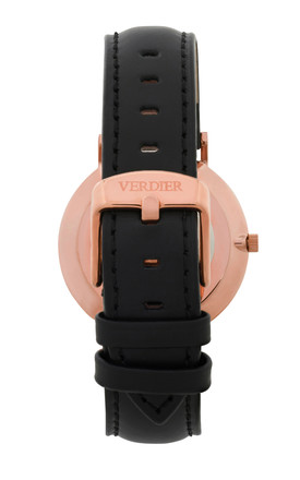 THE STROMBOLI WATCH in ROSE GOLD with BLACK LEATHER STRAP by Verdier