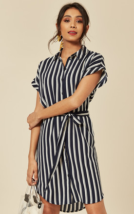 Shirt Dress with Tie Waist in Navy and White Stripe by VM