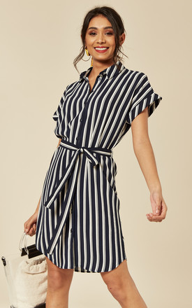 Shirt Dress With Tie Waist In Navy And White Stripe by VM Product photo
