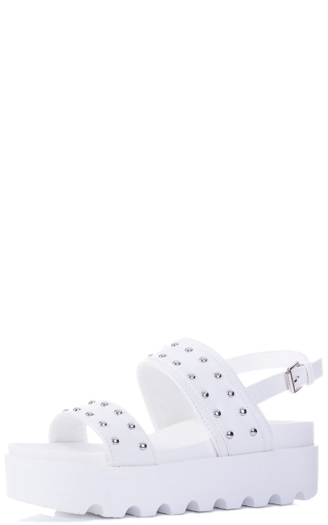 BERYLLIUM Chunky Studded Sandals in White Faux Leather by SpyLoveBuy
