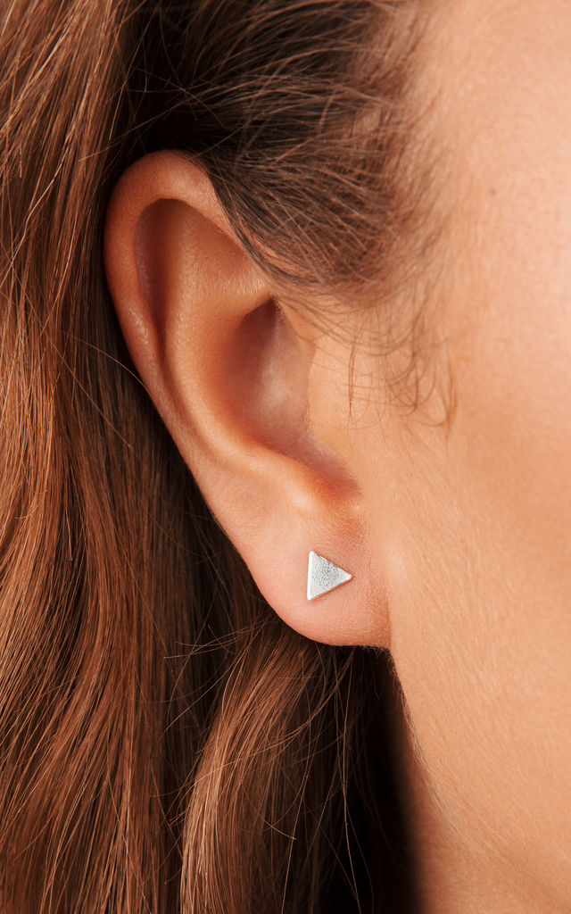 STERLING SILVER STUD EARRINGS with TINY TRIANGLE DESIGN by Lucy Ashton Jewellery