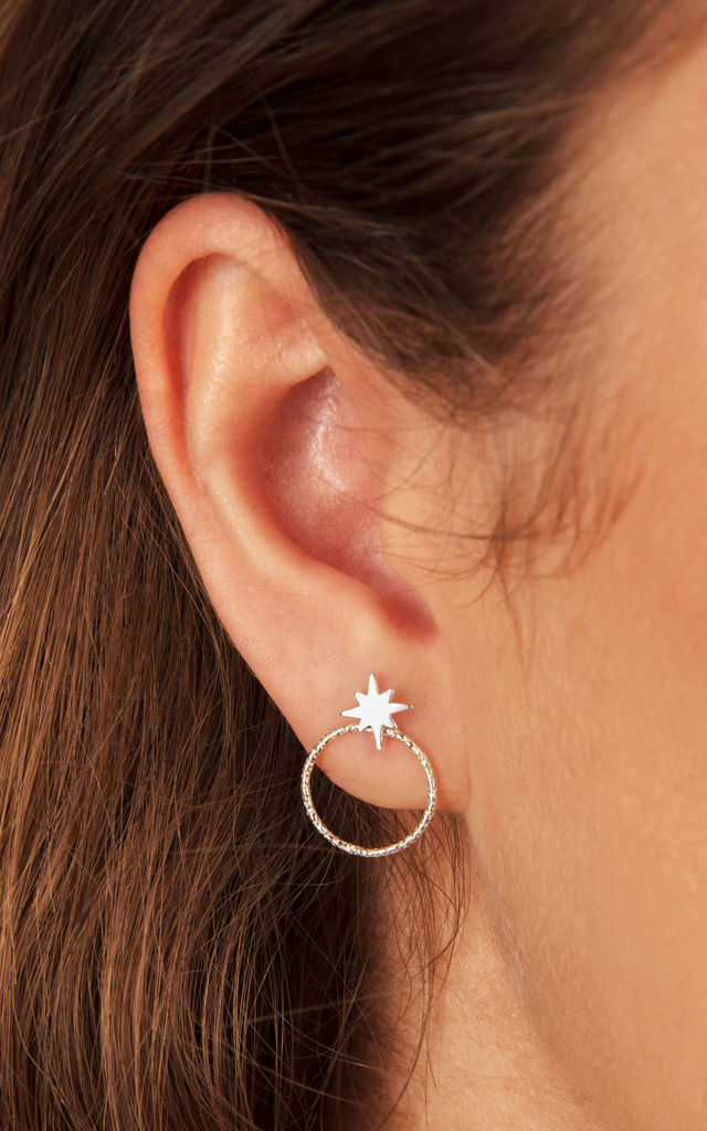 STERLING SILVER STUD EARRINGS AND EAR JACKETS with STAR DESIGN by Lucy Ashton Jewellery
