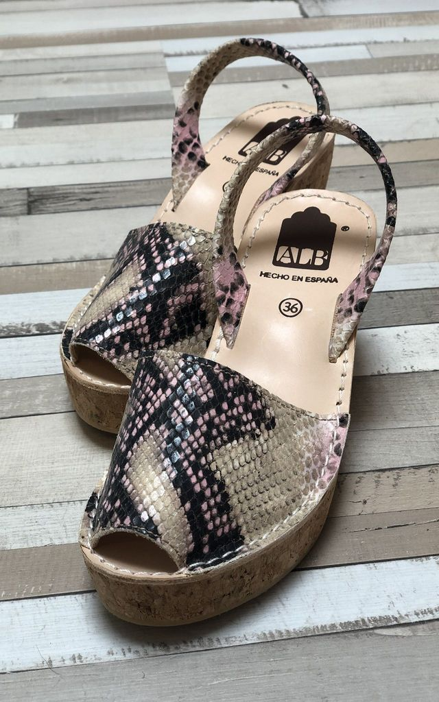 ALBies Cork Wedge Leather Sandals in Blush Snakeskin by Avenue L Boutique
