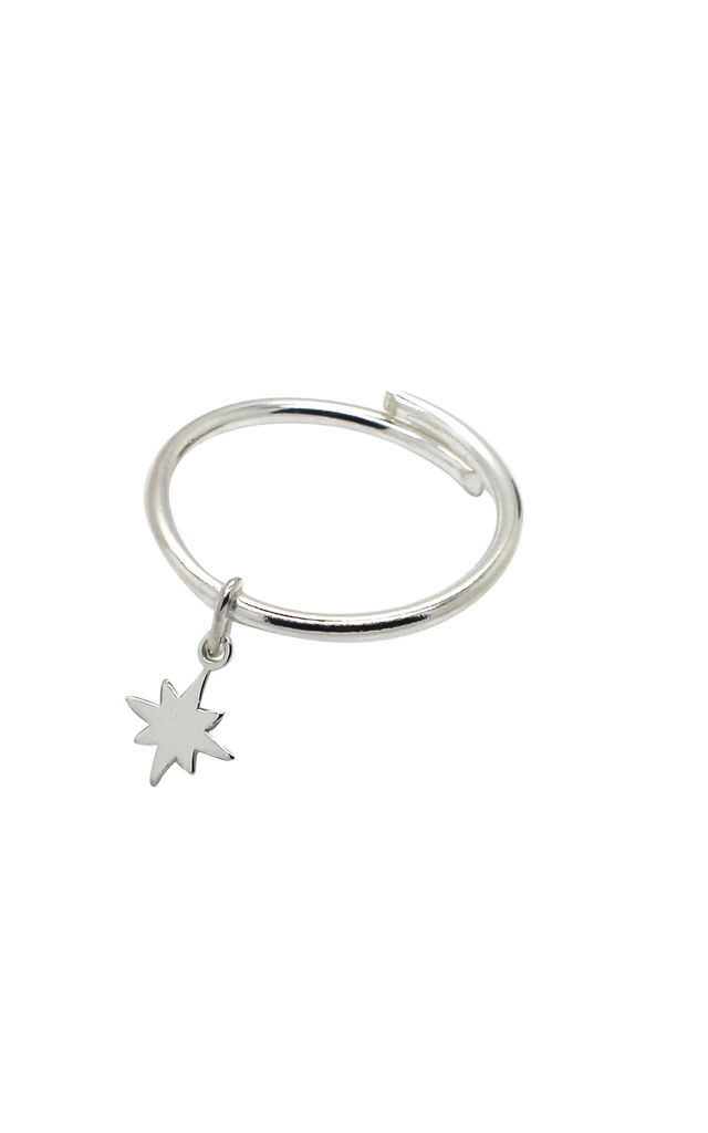 ADJUSTABLE STERLING SILVER RING with FALLEN STAR CHARM by Lucy Ashton Jewellery