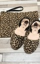 ALBie Flat Leather Sandals in Leopard Cheetah Print Pony Hair by Avenue L Boutique