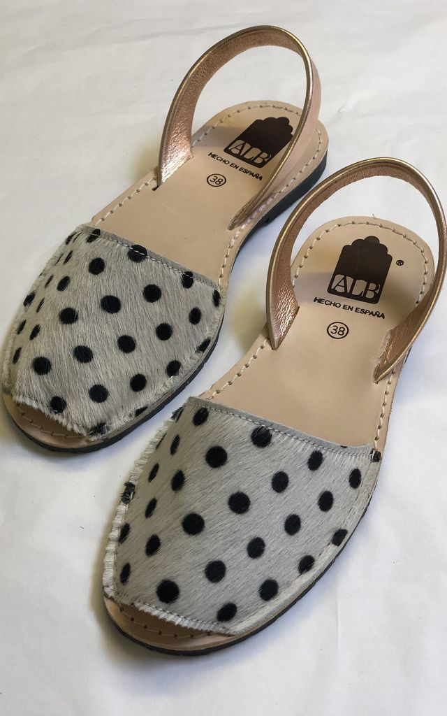 ALBie flat sandals in Rose Gold and Dalmatian Print Pony Hair by Avenue L Boutique