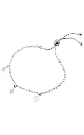 ADJUSTABLE STERLING SILVER BRACELET with FALLEN STAR CHARMS by Lucy Ashton Jewellery
