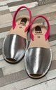 ALBies Leather Flat Sandals in Metallic Silver and Neon Pink by Avenue L Boutique