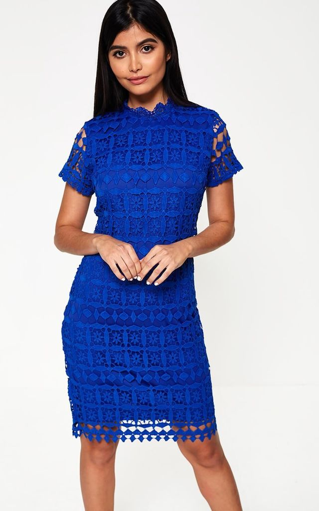 0bb3cdd56af High Neck Lace Pencil Dress in Royal Blue by Marc Angelo
