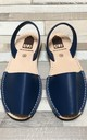 ALBie Menorcan Flat Sandals in Liberty Blue Leather by Avenue L Boutique