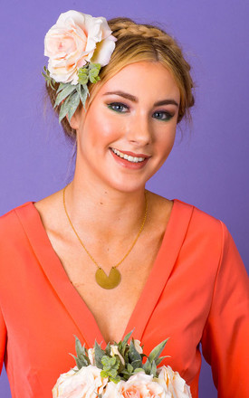 Darcie Rose and Dusky Foliage Corsage - Apricot by Crown and Glory