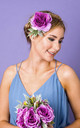 Darcie Rose and Dusky Foliage Corsage - Heather by Crown and Glory