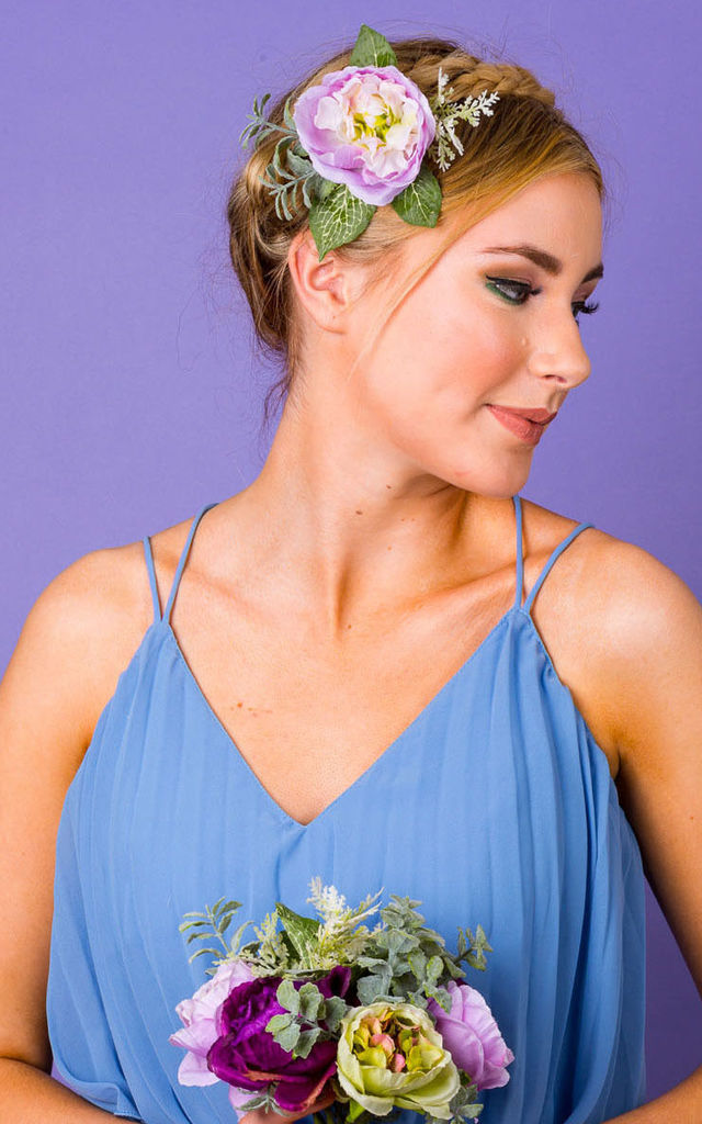 Rhiannon Ranunculus and Foliage Hair Corsage in Lilac by Crown and Glory