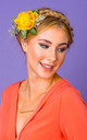 Rhiannon Ranunculus and Foliage Hair Corsage in Satsuma Orange by Crown and Glory