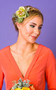 Rhiannon Ranunculus and Foliage Hair Corsage in Pistachio Green by Crown and Glory