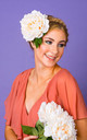 Luna Oversized Peony Hair Corsage in Apricot by Crown and Glory