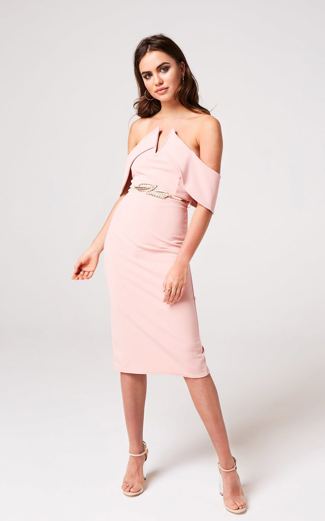d1f7be20c14e Bardot Bodycon Midi Dress In Peony Pink | Girls On Film | SilkFred