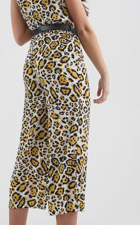 ESME YELLOW LEOPARD PRINT BELTED JUMPSUIT by Shelikes