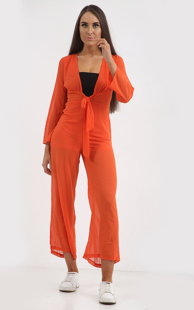 TALYA ORANGE PLUNGE TIE FRONT JUMPSUIT by Shelikes