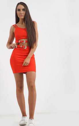 PIA ORANGE DOUBLE BUCKLE CO-ORD SET by Shelikes